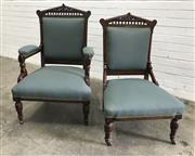 Sale 9071 - Lot 1014 - Edwardian Grandmother Grandfather Chairs (h:101 x w:64 x d:52cm)