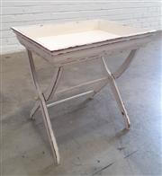 Sale 9071 - Lot 1067 - Timber Tray on Stand (h:57 x w:45 x d:50cm)