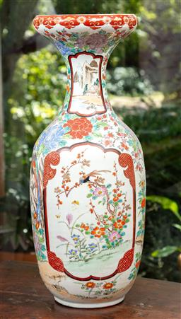 Sale 9120H - Lot 34 - A large Arita baluster vase with cartouches decorated with birds on a branch and red rim, Height 61cm