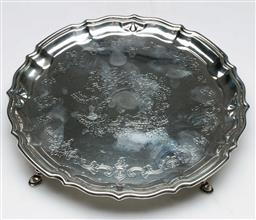 Sale 9138 - Lot 63 - A Hallmarked Sterling Silver Small Salver, Chester c1912 (Dia 18cm) (wt 228g)