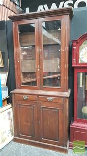 Sale 8404 - Lot 1011 - Large Timber Glass Front Bookcase