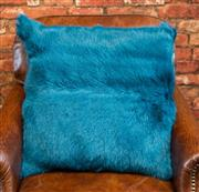 Sale 8420A - Lot 40 - A peacock green goat fur cushion, 50cm x 50cm, condition: new