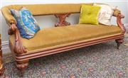Sale 8653A - Lot 68 - A Victorian cedar heavily carded chaise upholstered in green velvet, raised on bulbous legs with castors, W 188 x 70cm, with three s...