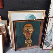 Sale 8636 - Lot 2051 - 3 Works: Painting of a Clown, SLR with 2 Clown Prints