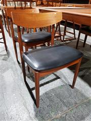 Sale 8765 - Lot 1098 - Very good set of 4 Koford Larison Danish Teak Dining Chairs with Black Leather Seats