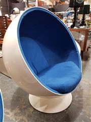 Sale 8805 - Lot 1061 - Eero Aarnio Style Ball Chair with Blue Upholstery