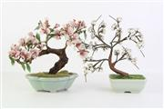 Sale 8818N - Lot 724 - Pair Of Glass Faux Trees In Ceramic Pots