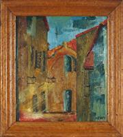 Sale 8914 - Lot 2081 - Barbara Neave - European Town Scene oil on canvas board, 40.5 x 35cm, signed lower right -