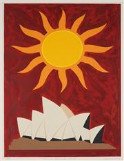 Sale 8916 - Lot 586 - John Coburn (1925 - 2006) - Sun & Sydney Opera House, 1993 50 x 67 cm