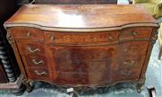 Sale 8939 - Lot 1085 - Possibly Italian 18th Century Style Walnut Commode, with serpentine front, three short and three long drawers with with floral marqu...
