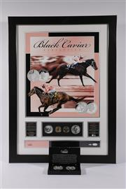 Sale 9007 - Lot 3 - Black Caviar Mounted Proof Coins And Poster (76cm x 56cm) Together With A Boxed $1 Proof Coin Set