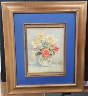 Sale 9041 - Lot 2075 - J Lemmone - Still Life, Roses, oil on board, SLR -