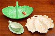Sale 9058H - Lot 28 - A group of Carltonware pieces to include apricot leaf dish with a tree motif, a salad basket and a sauceboat and saucer, Longest 23cm