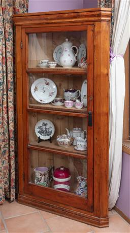 Sale 9120H - Lot 35 - A Baltic pine corner display cabinet with four shelves and glass door, Height 171cm x Width 95cm x Depth 67cm
