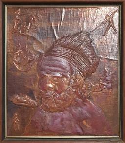 Sale 9151 - Lot 1009 - Mid century Aboriginal figural wall plaque (62 x 51cm)