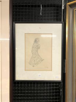 Sale 9155 - Lot 2057 - Artist Unknown  Dancing Figure in cloak pencil (frame: 54 x 38 cm) unsigned