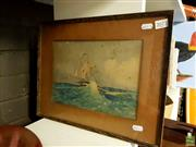 Sale 8631 - Lot 2077 - R M Ronald, Off Cape Horn, watercolour, 20 x 28cm, signed lower left -