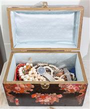 Sale 8653A - Lot 69 - A decoupage timber jewellery box containing an assortment of costume jewellery and watches