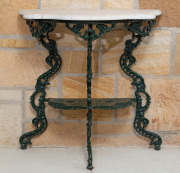 Sale 8677B - Lot 508 - A Victorian two tier hall stand with shaped marble top Height 72cm, Width 71cm