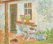 Sale 8704 - Lot 502 - Cedric Flower (1920 - 2000) - Cat on the Porch, 1984 25 x 30cm