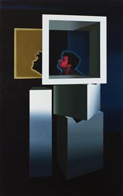 Sale 8787A - Lot 5040 - David Rellim (1986 - ) - Self-Portrait - Thinking Outside the Box, 2015 137 x 86.5cm