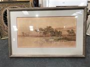 Sale 8789 - Lot 2127 - Neville William Cayley - Landscape, watercolour, 29.5 x 57cm, signed lower right