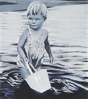 Sale 8906 - Lot 2016 - Wendy Miller Child, 2015 oil on canvas with embroidery highlights, 46.5 x 51cm, signed and dated verso -