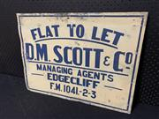 Sale 9092 - Lot 1021 - Vintage FLAT TO LET sign on tin by H.Williams (h:46 x w:51cm)