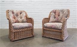 Sale 9112 - Lot 1087 - Pair of cane armchairs (h87 x w70 x d70cm)