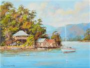 Sale 8323A - Lot 51 - John Hingerty (1930 - ) - The Boat Sheds 37 x 49cm