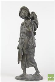 Sale 8521 - Lot 170 - Meiji Bronze Figure of a Woman with Monkey, signed & damage to base