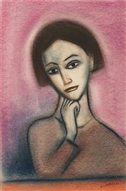 Sale 8665 - Lot 551 - Robert Dickerson (1924 - 2015) - Pensive Girl 56 x 37cm