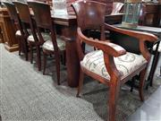 Sale 8740 - Lot 1066 - Timber Dining Table with Castle Door Top and 8 Chairs