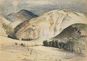 Sale 8936 - Lot 2013 - Artist Unknown (C20th) Rolling Hills watercolour and charcoal on paper, 52.5 x 73cm, unsigned -