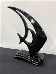 Sale 9092 - Lot 1063 - Large modernist heager style ebonised composite figure of a tropical fish (h:33cm)