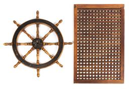 Sale 9130E - Lot 73 - A large vintage elm ships wheel, total Diameter 110cm, together with a ships hatch cover