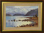 Sale 8323A - Lot 24 - Brian Halliday (1936 - 1994) - Late Wanaka from Beacon Point 29 x 44.5cm