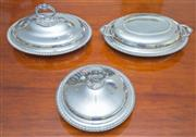 Sale 8341A - Lot 31 - Three silver plated entrée or warming dishes, longer L 30cm