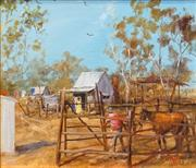 Sale 8420 - Lot 556 - Hugh Sawrey (1919 - 1999) - The Boundary Riders Hut, Quamby N.Qld 28.5 x 33.5cm