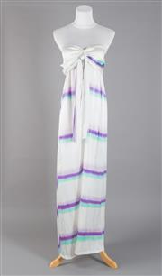 Sale 8493A - Lot 55 - An Elissa Coleman three tone silk stripe full length dress, with optional neck strap, size S/M