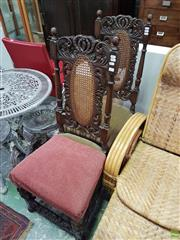 Sale 8585 - Lot 1711 - Pair of High Rattan Back Dining Chairs