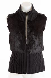 Sale 8640F - Lot 83 - A Boss Orange knitted virgin wool gilet with rabbit fur panels to front, size XS
