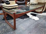 Sale 8782 - Lot 1058 - Quality Teak Danish Coffee Table with Glass Top