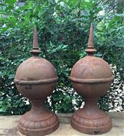 Sale 8772A - Lot 66 - A Pair Of Cast Iron Finials  / Spires, General Wear, Surface Rust Size: 50cm H