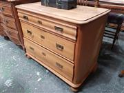 Sale 8868 - Lot 1049 - Biedermeier Style Pine Chest of Three Drawers, with different profiled drawer fronts & on bun feet