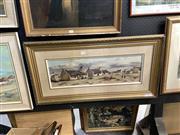 Sale 8891 - Lot 2090 - Otto Klar - Rural Village Scene, oil on board, 44.5 x 85.5cm (frame), signed