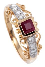 Sale 8982 - Lot 387 - A 9CT GOLD RUBY AND DIAMOND RING; bezel set with a carre cut ruby to bead and scrolling shoulders set with six round brilliant cut d...