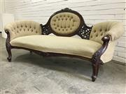 Sale 9068 - Lot 1004 - Victorian carved Walnut Settee, with central buttoned cameo in cream fabric with pierced supports & raised on cabriole legs (H:92 W:...