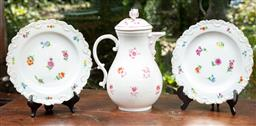 Sale 9120H - Lot 38 - A Meissen pink floral decorated coffee pot, Height 26cm together with a pair of Meissen floral dishes with gilt rims, Diameter 21.5cm