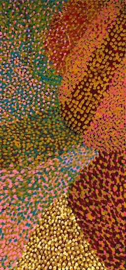Sale 9133 - Lot 524 - Gloria Petyarre (1942 - ) - Wild Flowers, 1995 178 x 84 cm (stretched and ready to hang)